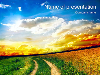 Road In The Field PowerPoint Template