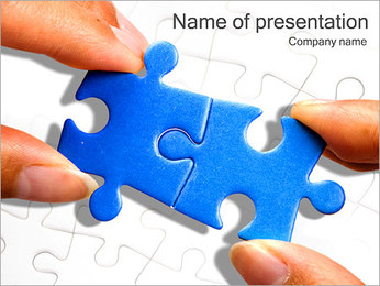 Blue Puzzle Combination PowerPoint Template