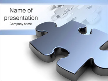 Grey Puzzle Element PowerPoint Template