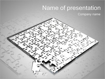Huge Grey Puzzle PowerPoint Template