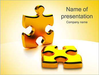 Golden Puzzle Game PowerPoint Template