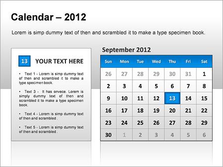 2012 Calendar PPT Diagrams & Charts