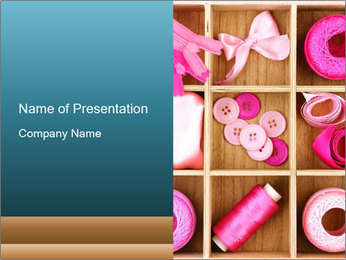 Pink Sewing Assortment PowerPoint Template