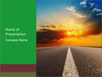 Road and Beautiful Sunset PowerPoint Template