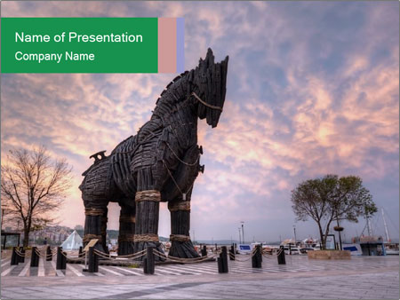 Statue Of Trojan Horse Powerpoint Template Backgrounds Google