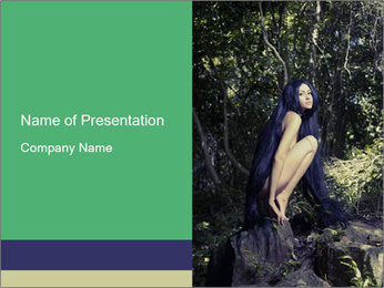 Nude Lady in Forest PowerPoint Template