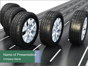 Black Rubber Wheels on Highway Road PowerPoint Template