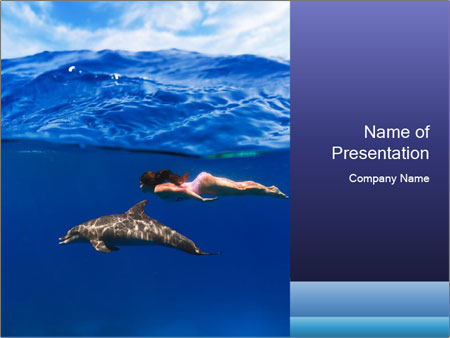 Woman Swimming With Dolphin Powerpoint Template Backgrounds