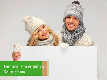 Love Couple in Winter Clothes with Board PowerPoint Template