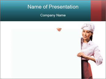 Asian Woman Cook Holding Board PowerPoint Template