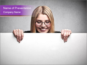 Woman in Glasses Behind White Board PowerPoint Template