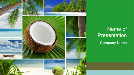 coconut collage powerpoint template backgrounds google slides