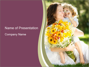 Happy Mother with Child and Flowers PowerPoint Template