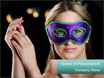 Lady in Masquerade Mask PowerPoint Template