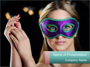 Lady in Masquerade Mask PowerPoint Templates