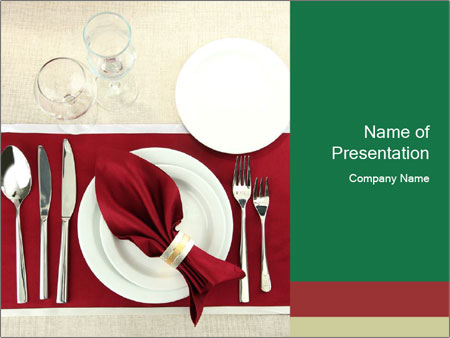 Table Setting with Red Napkin PowerPoint Template, Backgrounds ...
