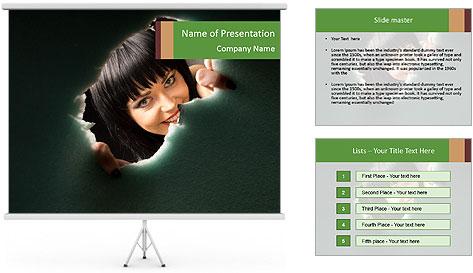 Smiling Girl Looking Through Hole Modèles des présentations  PowerPoint