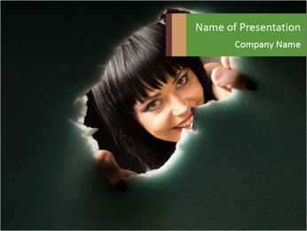 Smiling Girl Looking Through Hole PowerPoint Template