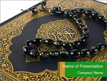 Koran and Black Rosary PowerPoint Template