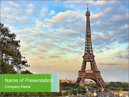 eiffel tower as symbol of paris powerpoint template & backgrounds, Modern powerpoint