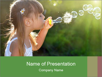 Little Girl Playing with Bubbles PowerPoint Template