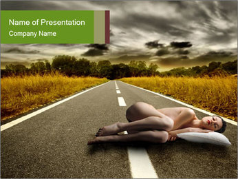 Woman Sleeping on the Road PowerPoint Template