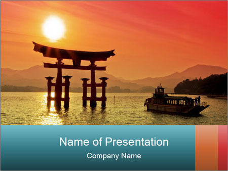 sunset in japan powerpoint template & backgrounds id 0000020603, Modern powerpoint