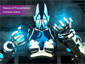 3D Model of Robot PowerPoint Template