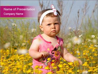 Summer Girl in Meadow PowerPoint Template