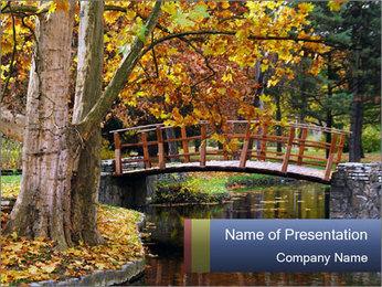 Bridge in Autumn Park PowerPoint Template