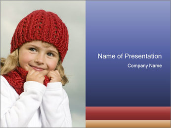 Small Girl in Red Knitted Hat PowerPoint Template