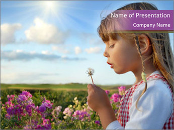 Small Girl Playing with Dandelion PowerPoint Template