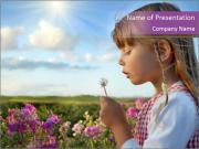 Small Girl Playing with Dandelion PowerPoint Templates