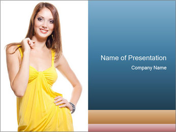 Young Lady in Yellow Dress PowerPoint Template