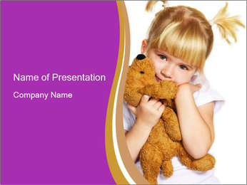 Small Girl Hugging Teddy Bear PowerPoint Template
