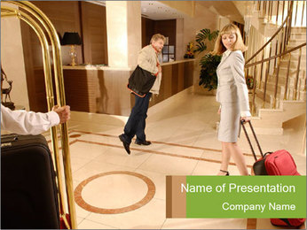 Visitors at Hotel Reception PowerPoint Template