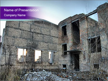 Ruined Building After Chernobyl Disaster PowerPoint Template