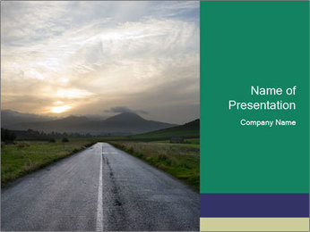 Misty Empty Road PowerPoint Template