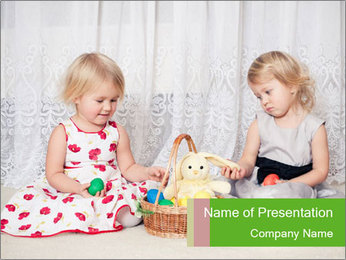 Two Girls Playing with Easter Bunny PowerPoint Template