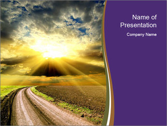 Sunsetting Rays Over Road PowerPoint Template