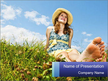 Young Girl Daydreaming Outdoors PowerPoint Template