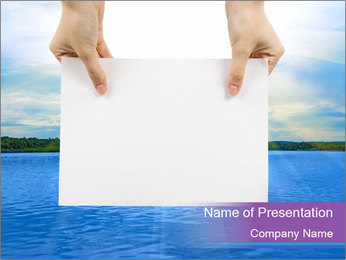 Paper on Sea Background PowerPoint Template