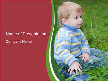 Small Boy in Blue Knitted Sweater PowerPoint Template