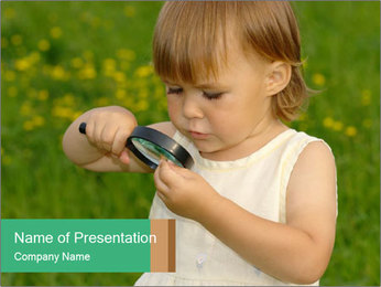 Small Girl with Lens PowerPoint Template