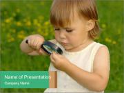 Small Girl with Lens PowerPoint Templates