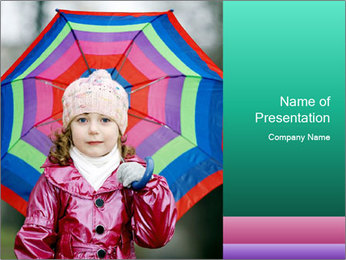 Cute Girl with Colorful Umbrella PowerPoint Template
