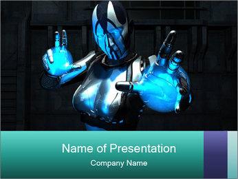 Fantastic Cyborg Warrior PowerPoint Template