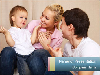 Young Parents Talking to Child PowerPoint Template