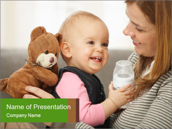 Mother Holding Cute Baby PowerPoint Template