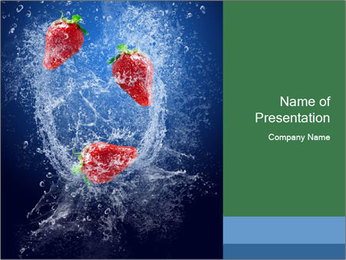 Three Strawberries Falling into Water PowerPoint Template